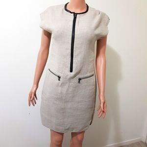 Arthur Galan Linen Leather Dress AU 8 BNWT
